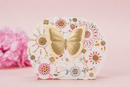 Wholesale Butterfly Shaped Case - Colorful Laser Cut Flower Wedding Candy Boxes Wedding Favors Holders Golden Butterfly Chocolate Gift Case Festival & Events Supplies 50Pcs