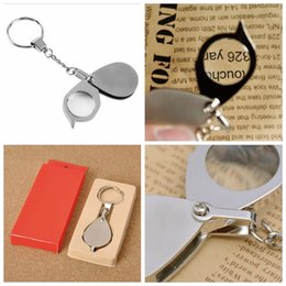 Wholesale Folding Pocket Magnifiers - 8X Folding Key Ring Magnifier with Key Chain Daily Magnifying Glass Tool Portable Pocket Daily Magnifying lupa Tool YYA751