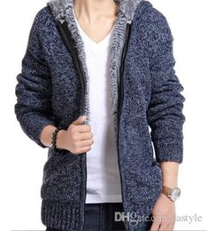 Wholesale Spring Hooded Jacket Mens - Jacket Men Thick Velvet Cotton Hooded Fur Jacket Mens Winter Padded Knitted Casual Sweater Cardigan Coat Spring Outdoors Parka
