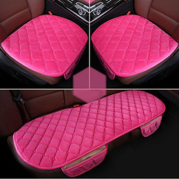 Wholesale Winter Car Seat Covers Cushions - New1 Car front back Seat Covers Luxurious check design Warm Winter Universal Fit SUV sedans Chair Pad Cushion antiskid