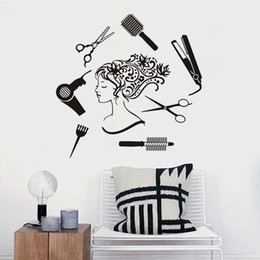 Wholesale Dress Vinyl Pvc - Hair Salon Hair Dressing Tools Beautiful Girl Wall Sticker Creative Removable Vinyl Waterproof Home Decor