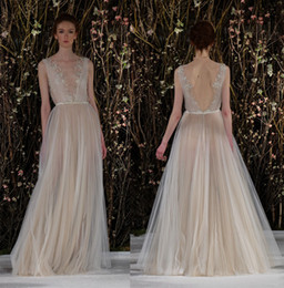 Wholesale Grecian Wedding Dressed - Ivory Nude Gold wedding dresses 2017 silk tulle Grecian draped gown with gold branch embroidered bodice floor length bridal wedding gowns