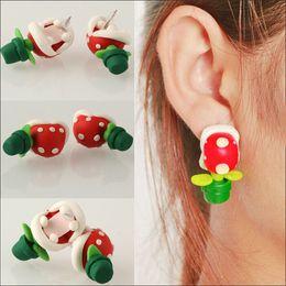 Wholesale Clay Mario - Christmas Gift Style Fashion Handmade Polymer Mario Clay Piranha Plant Earring Stud Earrings for Women Oorbellen Bijoux E1701