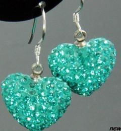 Wholesale Low Price Dangle Earrings - lowest price hotsale new Rhinestone Mix Colors white disco Ball beads clay heart drop Dangle Shamballal Crystal Earrings Stud x75345 t35