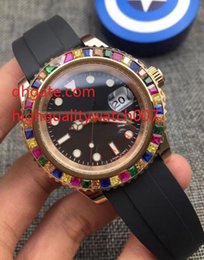 Wholesale Eta Movement Watches - Top High Quality RAINBOW EVEROSE 18K ROSE 116695SATS 116695 NEW Rubber Strap Bands Asia ETA Movement Automatic Mens Watch Watches
