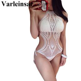 Wholesale crochet monokini bikini swimwear - 2017 Sexy White fish net knit crochet one piece swimsuit high neck swimwear women female bathing suit swim wear monokini V144