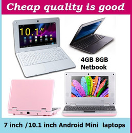 Wholesale Pink Mini Laptop Webcam - 7 inch 10.1 inch Mini laptop VIA8880 Netbook Android laptops VIA8880 Dual Core Cortex A9 1.5Ghz 4GB 8GB Netbook DHL FREE