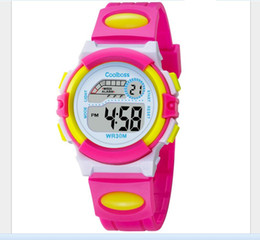 Wholesale Electronic Calendar Alarm - Coolboss multifunction children's electronic watches 7 color Luminous alarm clock calendar time waterproof sports watches child best gift