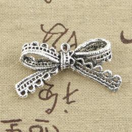 Wholesale Tibetan Silver Knot Charm Pendant - Wholesale- 5pcs Charms bow-knot bow 44*23mm Antique pendant fit,Vintage Tibetan Silver,DIY for bracelet necklace