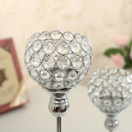 Wholesale Metal Lantern Centerpieces - Crystal Candle Holder Metal Silver Candlestick Lantern Votice Candle Stand Candelabra Centerpieces Wedding Decoration Mariage