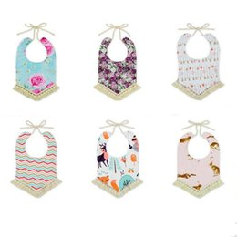 Wholesale Towels Printed Cotton - Baby Bandana Bibs INS Burps Cloths Newborn Tassel Saliva Towels Infant Cotton Bibs Scarf Children Cartoon Fox Dot Drool Bib Burp Turban L8