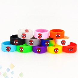 Wholesale Wholesale Spider Rings - Spider Man Vape Band Widened Silicone Ring Colorful Spider-man Rubber Decorative and Protection Rings Fit E Cigarette DHL Free