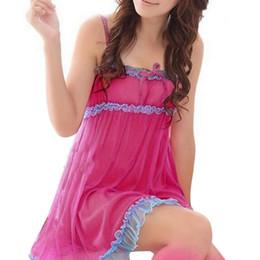 Wholesale Purple Sheer Babydoll Dress - Wholesale- Hot Women nightgown Lace Sheer Dress Sexy Lingerie Babydoll Sleepwear Underwear Ruffles Spaghetti Strap Nightwear Y1