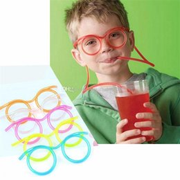 Wholesale Funny Frames - Hot Sale Funny Drinking Straw glasses Frames for party favor Novelty 5 colors Glasses straws C2492