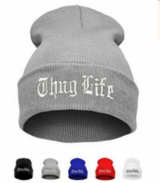 Wholesale Yellow Skull Cap Knit - THUG LIFE Black Letter Hat Unisex Autumn Winter Fashion Hip Hop Hat Cap Men Beanies Knitted warm Hats for Women Sport Hats Gorros Bonnets