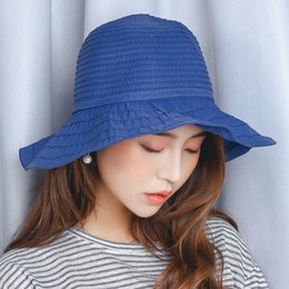Wholesale Cap Hunting Fishing - outdoor fish cap for women 3colors wholesale man sun hat straw Lotus leaf style plain hat for woman fish sun hats for female