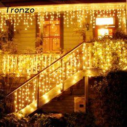 Wholesale Led Christmas Lights Icicle - Tronzo Christmas Tree Led Light Ornament 4m Multicolor Icicle Curtain Party Wedding Decoration Lights For Home 2017 Eu Plug
