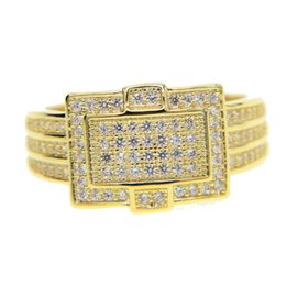Wholesale Unique Rings - 2017 unique design mens jewelry bling bling buckle design micro pave cz hip hop bling iced out cool boy men gold big ring