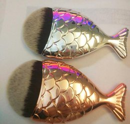 Wholesale Fish Shaped - Hot Mermaid Fish Brushes Face Powder Contour Concealer Brush Makeup Foundation Fish Shape Silver Rose Gold Colors Cosmetics Tools 20 pcs dhl