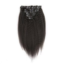Wholesale Indian Yaki Remy Hair - Slove Hair Kinky Straight Clips In Brazilian Human Hair Extensions 130g 10pcs Set Coarse Yaki Clip Ins 100% Remy Hair