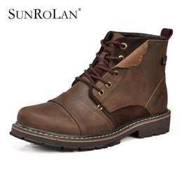Wholesale Comfortable Warm Winter Boots - Wholesale-SUNROLAN New winter men working soldier boots genuine leather plush cotton lace up fashion warm comfortable tooling boots 3166