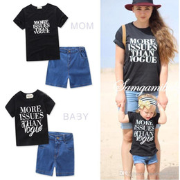 Wholesale Boutique T Shirts Women - Mother Daughter Sets Mom Girls T-shirts+Short Pants 2pcs Matching Suits 2017 Women Outfits Kids Girls Sets Family Macth Clothes Boutique
