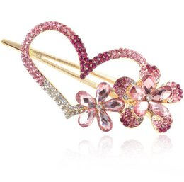 Wholesale Hair Accessorie Flowers - Fashion Pink Heart Crystal Rhinestones Hairpin Hair Clip Headwear Barrettes For Women Vintage Flower Hair Accessorie