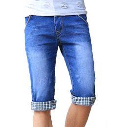 Wholesale Boys Cuffed Jeans - Wholesale- Cuffed Denim Shorts Mens Boys Slim Capri Cropped Jeans 2017 Fashion Free Shipping