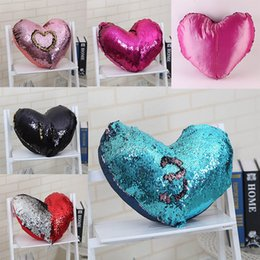 mermaid sequins pillow glamour cover Promo Codes - Mermaid Sequins Pillow Case Magic Glamour Pillow Cover Mermaid Heart-Shaped Pillow Cases Bright Glitter Car Cushion Home Sofa Decoration