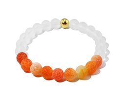 Wholesale Crystal Weather - New Fashion 8mm Weathering Agates Beaded Bracelets For Women Crystal beads and Gold beands Elastic Charm Man Bracelet Pulseras Hombre 4SIZE