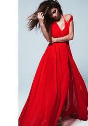 Wholesale Chiffon Dress Transparent Sleeves - New Dresses Vestido Long Women Sexy Nice Dress Transparent Beach Red White Long Dress Beach Style Elegant Prom Evening Dress V Neck Line