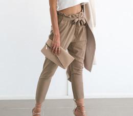 Wholesale Black Chiffon Trousers - OL chiffon high waist harem pants Women stringyselvedge summer style casual pants female 2017 New black trousers