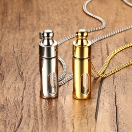 Wholesale Glass Jewelry For Essential Oils - Aromatherapy Essential Oil Diffuser Locket Glass Perfume Bottles Pendant Necklace Titanium Chain Jewelry for Womens Mens