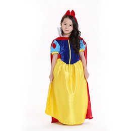 Wholesale Yellow Princess Dress Costume - Fairy Tale Princess Dresses Story Princess Costumes Stage Performance Clothing Cosplay Include Dresses and Headdress Children Dresses