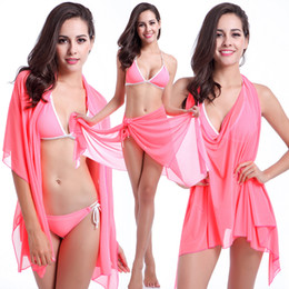 Wholesale Swimsuit Plus Sizes Free Shipping - Cheap Variety Skirt Bikini 2017 Original Sexy Beach Skirt Halo Variety Beach Resort Fashion Wear Dress Swimsuit Three sets Free Shipping