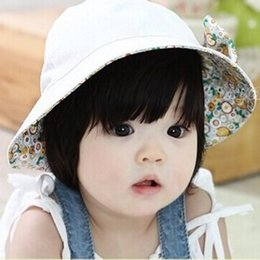 Wholesale Infant Girls Hats - Fashion Two Sided Baby Sun Hat Floral bowknot Infant Pure Cotton Flower Sun Helmet Children Headwear Toddle Sunbonnet Baby Sunhat Girls Hats