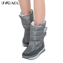 Wholesale Gray Knee High Boots Women - Wholesale- Uwback 2016 New Brand Winter Women Boots Gray Black Platform Snow Boots Waterproof Plush Anti-Slip Plus Size Winter Shoes TJ091