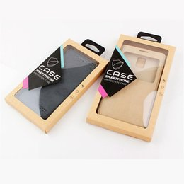 Wholesale Phone Box Sticker - Kraft Mobile Phone Case Package Cell Phone Case Package Retail Packaging Box with PVC Blister Tray + Hanger + Sticker for iphone Samsung