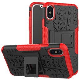 Wholesale Iphone Rubber Shell Case - For iphone 8 X Heavy Duty 2 in 1 Hybrid Armor Case Shockproof With Kickstand Rubber Hard Cover Shell For iiphone 7 Samsung S8 S8 plus