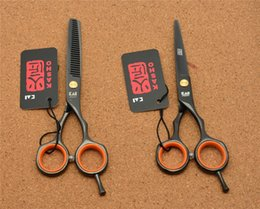 Wholesale H1004 Japan Kasho Black Colour Hairdressing Scissors Factory Price Cutting Scissors Thinning Shears professional Human Hair Scissors