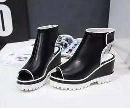 Wholesale Straw Wedges Shoes - Letu158 8.5 CM Platform Wedge Sky-high Strappy Heels Genuine Leather Summer Sandals High Heel Women Shoes Ladies Shoes Peep Toe Sz 34-39