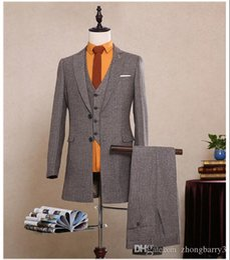 Wholesale Korea Grey Pants - Wholesale - Korea Sytle Customized 2017 Hot Grey Tweed Herringbone Long Jacket Blazer Man Suit ( Coat+Pants+Vest) XH005 Tailored Slim Fit Su