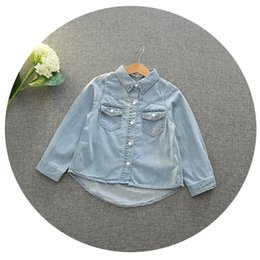 Wholesale Princess Tops - Everweekend Girls Denim Pocket Autumn Tops Vintage Korea Western Fashion Children Blouse Princess Lovely Baby Clothing