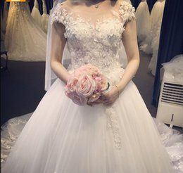 Wholesale Tailored Made Lace Dress - 3D flowers 2017 Wedding Dresses Tailor Made Train Lace Bridal Dresses With (Veil+Petticoat+Gloves+Necklace+Crown) Free Shipping Fashion