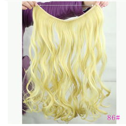 Wholesale Long Wavy Clip Extensions - Wholesale-14 Colors Synthetic Extesion Hair Wrap With On Hair Long Fake Hair Wavy Curly Ponytail Hair Piece Tress Clip Hairpiece Extension