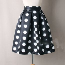 Wholesale Satin Umbrella - Vintage Polka Dot Umbrella Skirt Middle Length Women's Skirt Middle Waist Elegant Summer  Autumn Girls Outwear Dress Skirt 2017 Newly