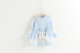 Wholesale Autumn Pendants - Fashion Children Girls Dress Top Quality Girls Cotton Long Sleeve Party Dress Kids Clothings with Cat Pendant