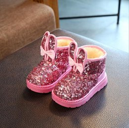 Wholesale Felt Sequins - Girls Snow Shoes Winter Princess Felt Boots Red Children Shoes With Fur Waterproof Rubber Boots Girls Ankle Shoes