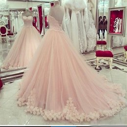 Wholesale Dress Quinceanera Hot Sale - 2017 Blush Pink Quinceanera Dresses Sweetheart Applique Lace Sweet 16 Dresses Plus Size Hot Sale Masquerade Formal Prom Ball GownCheap