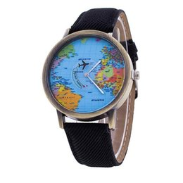 Wholesale Map Fold - Wholesale- Men Women Watch World Map Design Analog Quartz Watch Leather Wristwatch Reloj Mujer Round Case Time Clock Lady Gift